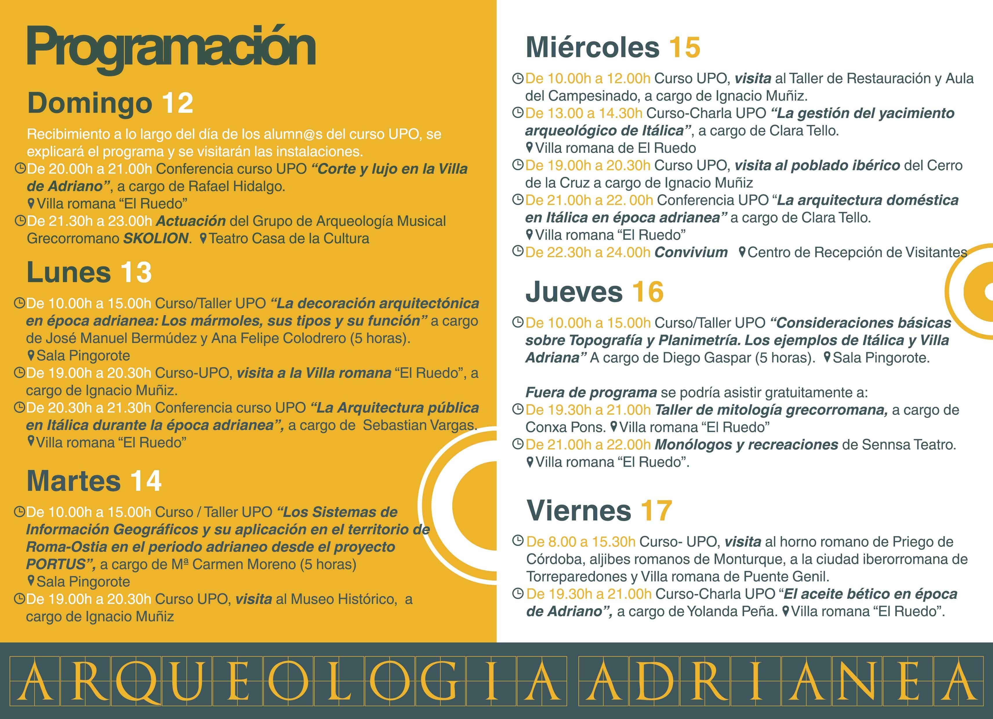 Programa Curso Arqueología Adrianea 2